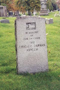 """Gravestone, Oak Woods Cemetery. """"In Memory of Our Children, The Chicago Orphan Asylum"""""""