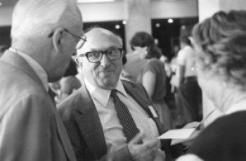 Wilbur Cohen at the 50th Anniversary of Social Security ceremony at Social Security headquarters in Baltimore, Maryland—August 1985.