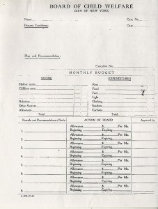 Application for Public Assistance: New York City Board of Child Welfare, 1914-1917 p.1