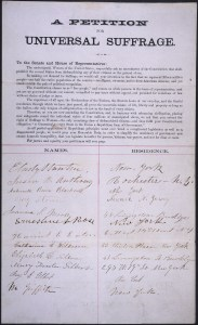 Petition of E. Cady Stanton, Susan B. Anthony, Lucy Stone, Antoinette Brown Blackwell, and Others Asking for an Amendment of the Constitution that Shall Prohibit the Several States from Disfranchising Any of Their Citizens on the Ground of Sex