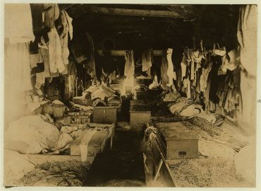 Interior of a shack occupied by berry pickers. Anne Arundel County., Maryland. Courtesy of Maryland Child Labor Committee.