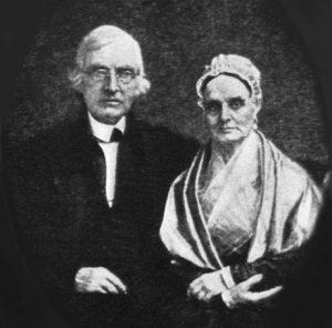 Daguerreotype portrait of Lucretia and James Mott sitting together, original photograph by William Langenheim, 1842