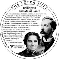 The Extra Mile medallion honoring Ballington & Maud Booth