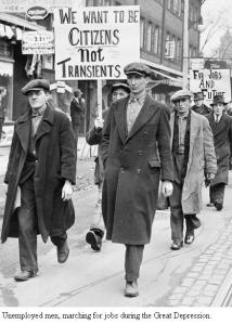 Unemployed men marching for jobs during the Great Depression.