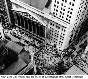 New York City crowds take the streets at the beginning of the Great Depression.