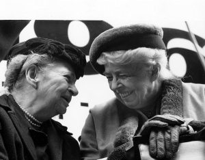 Secretary of Labor Frances Perkins and Eleanor Roosevelt at the 50th anniversary commemoration at the site of the Triangle fire, March 25, 1961.