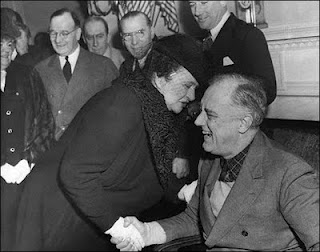 Frances Perkins and President Delano Roosevelt.