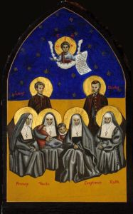 "icon was painted (or ""written"") in 1999 by Br. Tobias Stanislas Haller, BSG. It is owned by Fessenden House, Brotherhood of St. Gregory, Yonkers, New York. It depicts ""Constance and her companions,"" four Episcopal nuns and two priests who died caring for Yellow Fever victims (the sick and orphaned) at St. Mary's Episcopal Cathedral, Memphis., 1878."