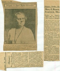 Portrait and Obit Announcing the Death of Mary E. Brown