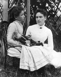Photograph of Helen Keller at age 8 with her tutor Anne Sullivan on vacation in Brewster, Cape Cod, Massachusetts