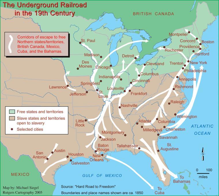 Underground Railroad New York Map.Social Welfare History Project Underground Railroad The 1820 1861