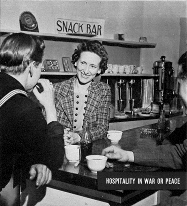 "Woman serving coffee to a navy man at a snack bar. ""Hospitality in War or Peace"""