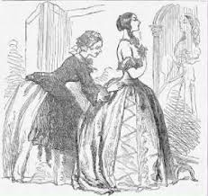 A maid helps a woman into a corset and fancy dress