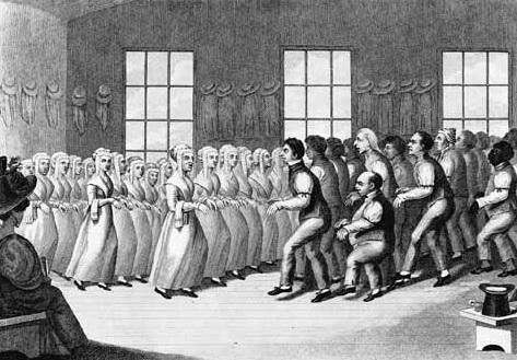 Shakers dancing during worship