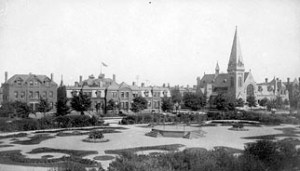 Greenstone Church and the Arcade park in Pullman, Chicago.