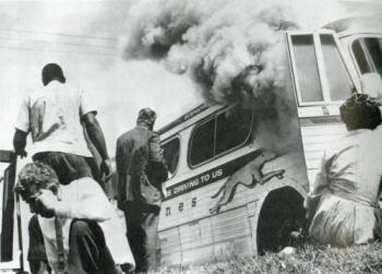Freedom Riders Bus Burned near Anniston, Alabama, 1961