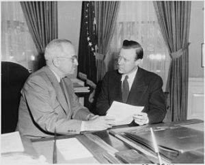 Walter Reuther (right) conferring with President Truman in the Oval Office, 1952