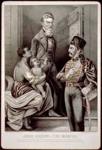 Illustration shows John Brown, a soldier, and an African American woman with her child