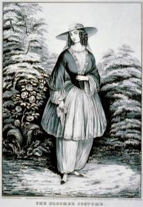 Illustration of a woman wearing bloomers under a short dress along with a stylish hat