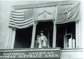 Image courtesy of the Montana Historical Society, Helena Jeannette Rankin with Carrie Chapman Catt in Washington, D.C. Later that historic day, Rankin was officially sworn into the 65th Congress.