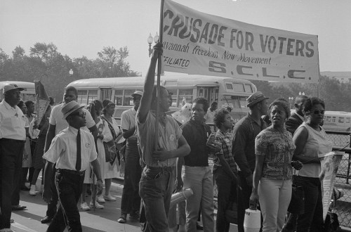 >Marchers with SCLC sign for the Savannah Freedom Now Movement, during the March on Washington, 1963