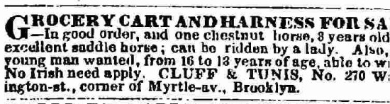 Anti-Irish sentiment found in a classified advertisement from the 19th century.