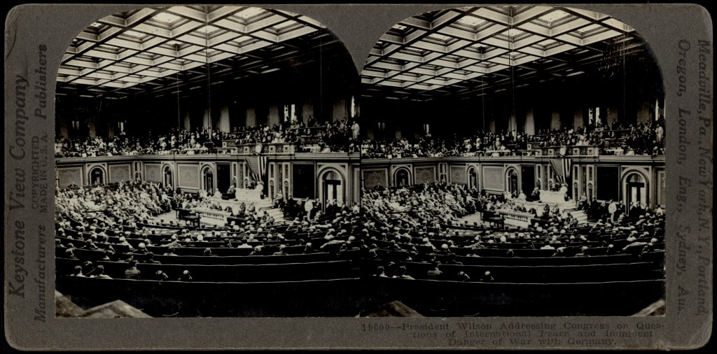 Stereoscopic slide showing President Wilson addressing Congress