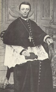Bishop James Augustine Healy seated in chair and wearing ecclesiastical robes