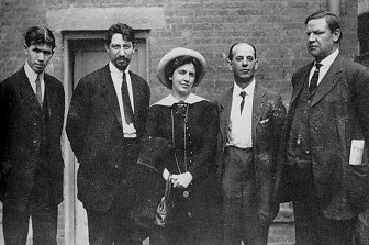 Strike leaders at the Paterson silk strike of 1913. From left, Patrick Quinlan, Carlo Tresca, Elizabeth Gurley Flynn, Adolph Lessig, and Bill Haywood