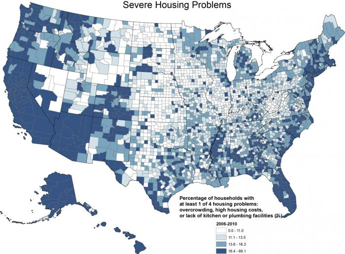 Depending on the county, severe housing problems affect anywhere from 3 to 69 percent of the county's population, with the most severe housing problems clustered on the East and West coasts, parts of the South and Alaska.