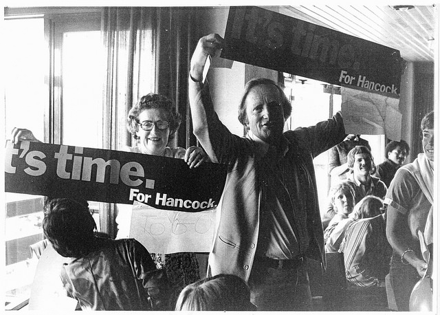 Allison and Merv Hancock at farewell party, 1982. Merv was the Director of the Social Work Unit at Massey University (1975-82).