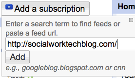 "Step 4c: Past ULR into ""add subscription"" box"