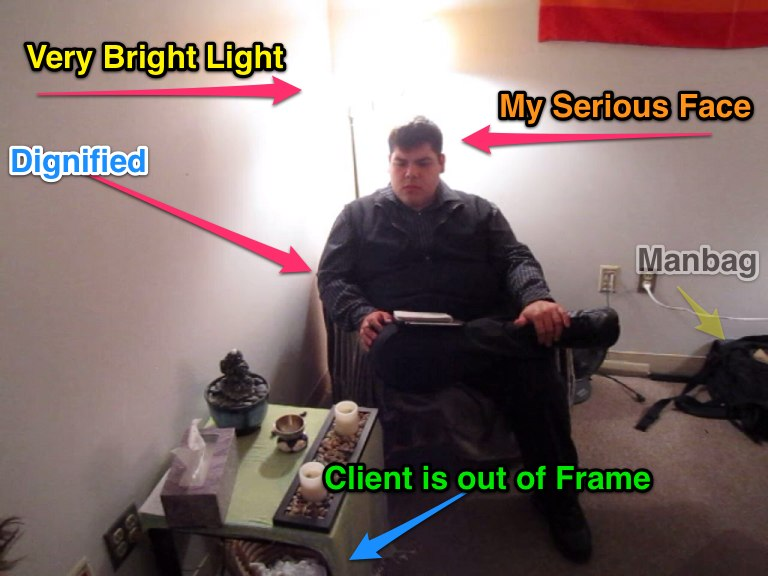 A picture of Ignacio in a therapy session with a client