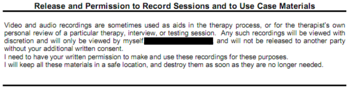 Image of text for a Permission to Record Session release
