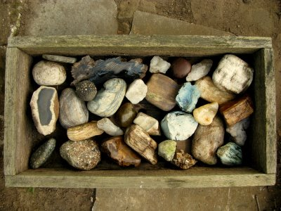 A picture of a box of rocks