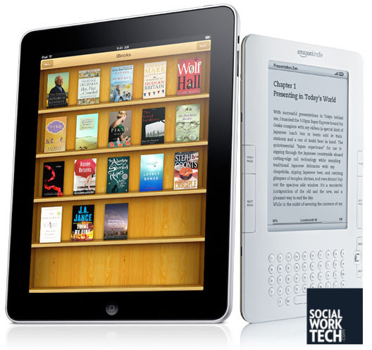 A picture of an iPad and an Amazon Kindle