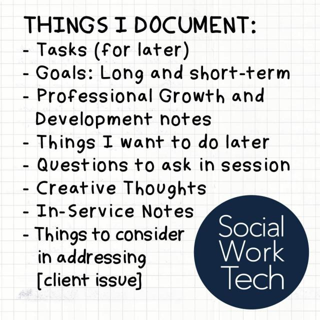 Text: Things I document: tasks, goals, professional growth, things I want to do later, questions to ask, creative thoughts, in-service notes, things to consider