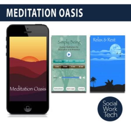 Screenshots of the Meditation Oasis App