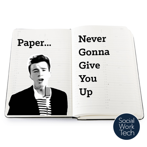 "A picture of Rick Astley, drawn on a notebook with the words ""Paper... Never Gonna Give You Up"""