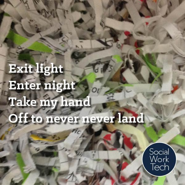 "A picture of a pile of shredded paper with the lyrics to Metallica's ""Enter Sandman"" superimposed on the picture"
