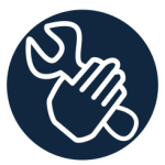 Icon of hand holding a tool - click to connect to Social Work Tech Tools