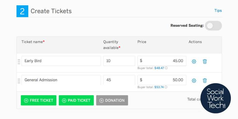 A screenshot of the event creation page on Eventbrite: Enter ticket types, prices, adjust other ticket settings.