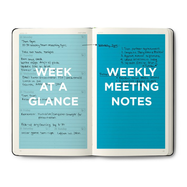 """A picture of the evernote planner that is open. Left side says, """"week at a glance"""", right side says, """"weekly meeting notes"""""""