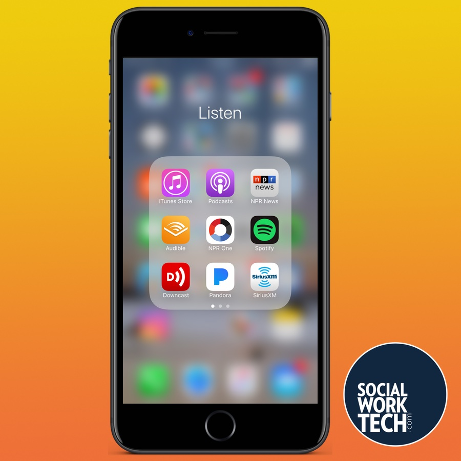 "A picture of an iPhone Screen with shot of a folder called ""Listen"" with apps that include iTunes Store, Podcasts, NPR News, Audible, NPR One, Spotify, another Podcast app, Pandora, Sirius XM"