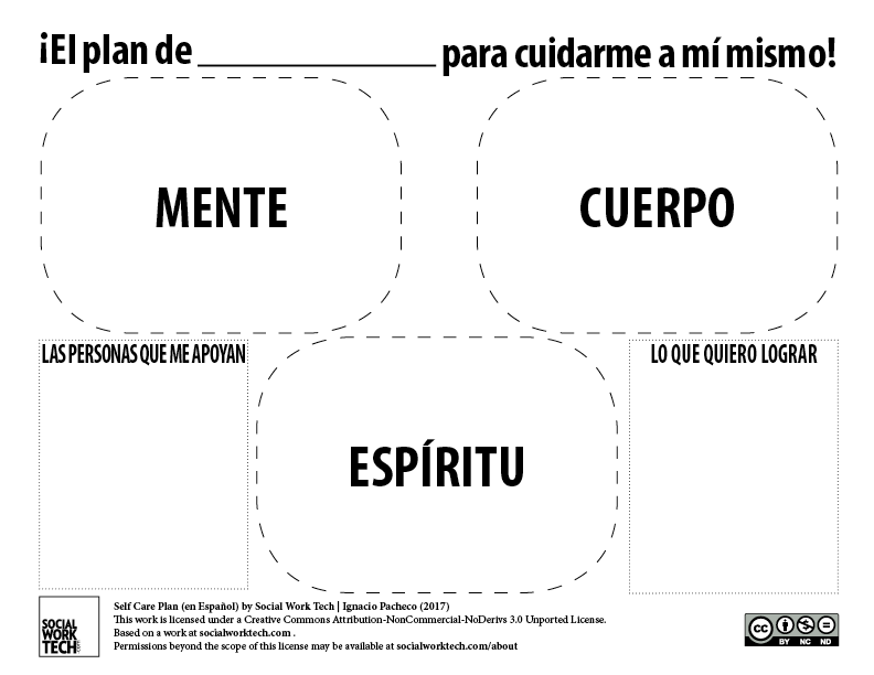 Self Care Plan translated to Spanish. See PDF version for readable text.