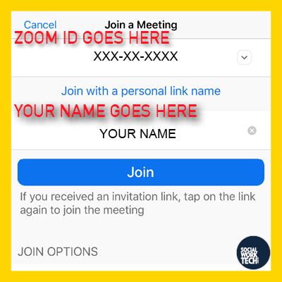 """Join a Meeting in Zoom, put the Zoom ID in one box and your name in the other, then click """"Join"""""""