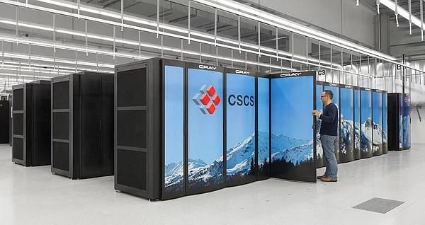 """O supercomputador """"Piz Daint"""" do Swiss National Computing Center. Crédito: CSCS"""