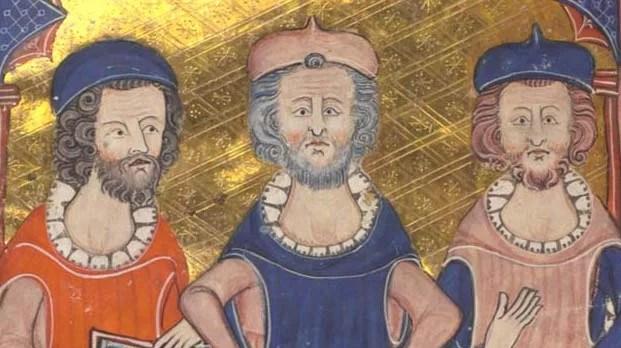 Platão, Sêneca e Aristóteles em uma ilustração de um manuscrito medieval. Domínio público.