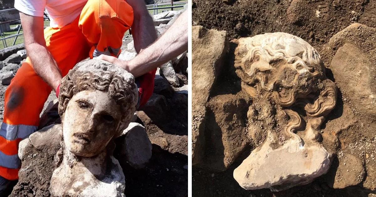 Escultura de 2 mil anos de idade desenterrada em Roma