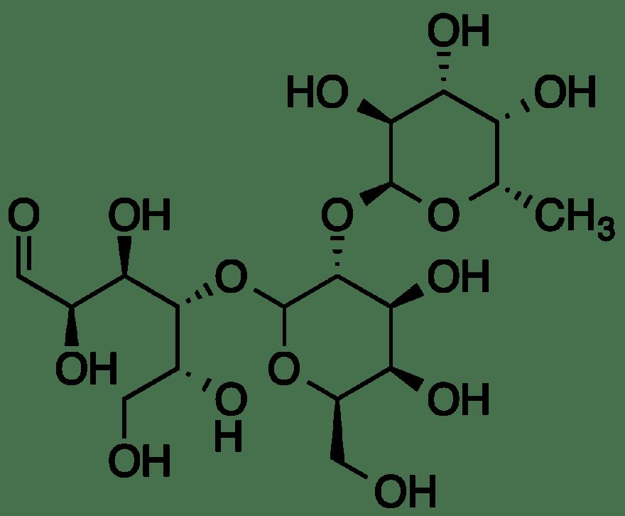 A fórmula estrutural da 2′-fucosilactose, que se encontra no leite materno. (Imagem: Wikipedia)